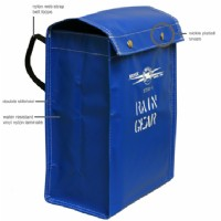 Rain gear storage bag, blue vinyl
